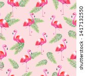 flamingo with palm leafs...   Shutterstock . vector #1417132550