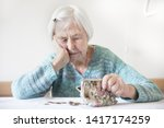 concerned elderly 96 years old... | Shutterstock . vector #1417174259