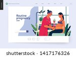 Medical insurance template -routine pregnancy cover -modern flat vector concept digital illustration of a pregnant woman at the obstetrician reception, tape measuring process, medical insurance plan
