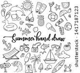 summer beach hand drawn vector... | Shutterstock .eps vector #1417187123