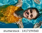 happy woman smiling at camera... | Shutterstock . vector #1417194560