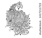 mehndi flower pattern with... | Shutterstock .eps vector #1417211723