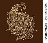mehndi flower pattern with... | Shutterstock .eps vector #1417211726