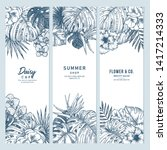 exotic flowers and leaves... | Shutterstock .eps vector #1417214333