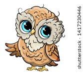 cute owl cartoon vector  bird... | Shutterstock .eps vector #1417230446