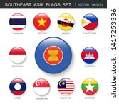 southeast asia flags  set and... | Shutterstock .eps vector #1417253336