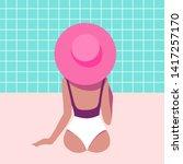 back view of girl in swimsuit...   Shutterstock .eps vector #1417257170