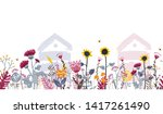bright seamless meadow border... | Shutterstock .eps vector #1417261490
