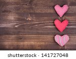 Love Hearts On Vintage Wooden...