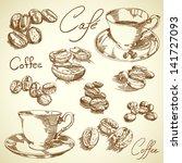 vector vintage coffee set | Shutterstock .eps vector #141727093
