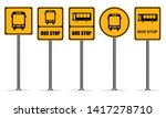 Set Of Yellow Bus Stop Signs
