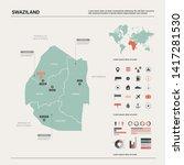 vector map of swaziland.... | Shutterstock .eps vector #1417281530