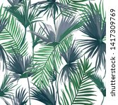 tropical jungle palm leaves... | Shutterstock .eps vector #1417309769