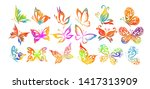 set of multicolored abstract... | Shutterstock .eps vector #1417313909