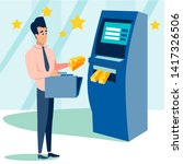 businessman receives gold bars... | Shutterstock .eps vector #1417326506
