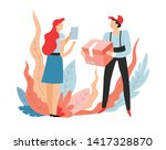deliveryman with parcel and... | Shutterstock .eps vector #1417328870