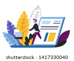 online shopping man with... | Shutterstock .eps vector #1417330040