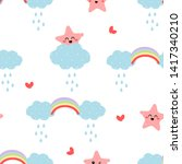 seamless pattern with hand... | Shutterstock .eps vector #1417340210