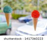plastic cone ice cream in shop...   Shutterstock . vector #1417360223