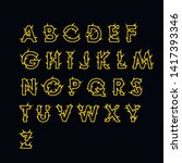 spiny yellow font on black... | Shutterstock .eps vector #1417393346