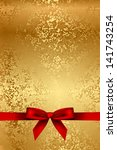 vector gold texture with red bow | Shutterstock .eps vector #141743254