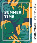 colorful summer poster with... | Shutterstock .eps vector #1417442519