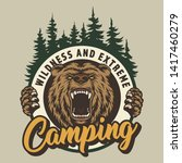 vintage colorful camping round... | Shutterstock .eps vector #1417460279