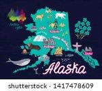 illustrated map of alaska  usa. ...   Shutterstock .eps vector #1417478609