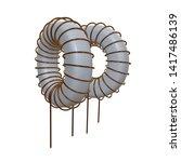 toroidal coil inductor 3d... | Shutterstock . vector #1417486139