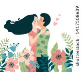 romantic card with couple... | Shutterstock .eps vector #1417508639