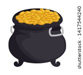treasure cauldron with coins... | Shutterstock .eps vector #1417544240