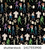 seamless pattern with scary... | Shutterstock .eps vector #1417553900
