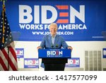 Small photo of Concord, NH - June 5, 2019: Democratic 2020 U.S. presidential candidate and former Vice-President Joe Biden campaigns in New Hampshire at IBEW Local 490 in Concord, NH.