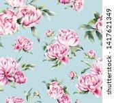 floral print  watercolor... | Shutterstock . vector #1417621349