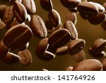 brown roasted coffee beans... | Shutterstock . vector #141764926