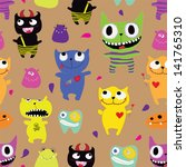 seamless pattern of funny... | Shutterstock .eps vector #141765310