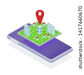 isometric map of the area of... | Shutterstock .eps vector #1417660670
