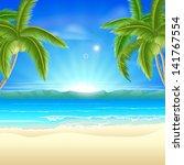 summer holiday beach background ... | Shutterstock . vector #141767554