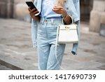 paris july 4 2018.street style... | Shutterstock . vector #1417690739