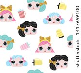seamless pattern with cute... | Shutterstock .eps vector #1417699100