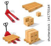 hand forklift with pallets and... | Shutterstock .eps vector #141770164