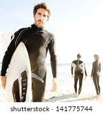 three sport surfer friends...   Shutterstock . vector #141775744