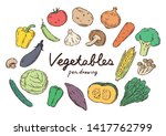 healthy colorful vegetables set ...   Shutterstock .eps vector #1417762799
