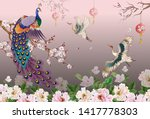 peacock on the branch  plum... | Shutterstock .eps vector #1417778303