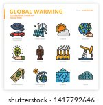 global warming icon set for web ... | Shutterstock .eps vector #1417792646