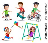 kids playing vector characters... | Shutterstock .eps vector #1417806950