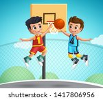 kids characters playing... | Shutterstock .eps vector #1417806956