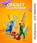 illustration of batsman and... | Shutterstock .eps vector #1417840493
