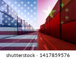 Small photo of Double exposure image of United States of America and China trade war tariffs as two opposing container cargo in port as an economic taxation dispute over import and exports concept