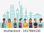 group of young people in front...   Shutterstock .eps vector #1417864130